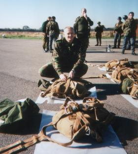 Preparing the parachute equipment before our first jump from Skyvan, 1996