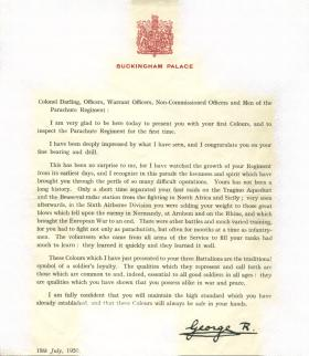 Official letter, and address, from HM King George VI for presentation of Parachute Regiment's First Colours, 19 July 1950.