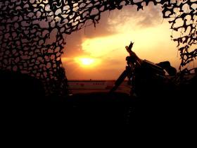 Low sun across the desert from an Para OP, Iraq, Op Telic 7, 2006