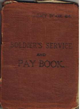 Pte William Ralphs' first Army Pay Book