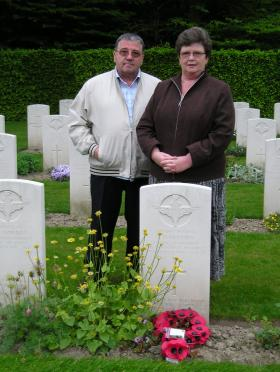 Mr and Mrs S Conway at the grave of Thomas Harrison, Reichswald, May 2010.