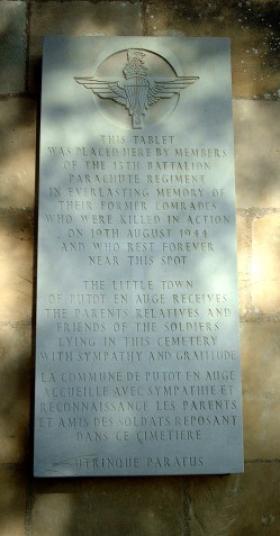 Memorial at Putot-En-Auge, Normandy to soldiers of 13th (Lancs) Parachute Battalion