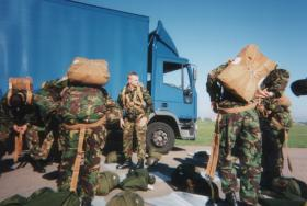 4 PARA preparing chutes for the Skyvan jump, 1996