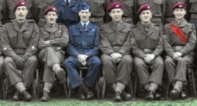 Section of group photo of A Coy 2nd Parachute Battalion, RAF Abingdon, 1950