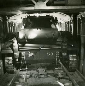 Tetrarch tank stowed in a Hamilcar glider, from the rear, c.1944