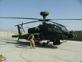 Apache of 4 Regt AAC being rearmed after completing a mission supporting ground forces in Kandahar Province, Afghanistan, 2008
