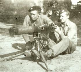 Reginald Burton with mates, probably Palestine, 1945