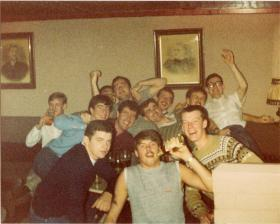 Ritchie Bristow with the 4 PARA Mortar Platoon in 'Sams Bar', Liverpool, 1981