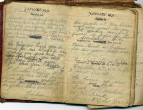 Copy of notes from Tpr Roland Booths, written in Belgium, 1945