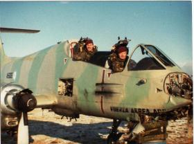 L/Cpl 'Yank' Thayer & Sgt Blackburn in cockpit of Argentinian Pucara A-506