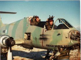 L/Cpl 'Yank' Thayer & Sgt Blackburn in cockpit of Argentinian Pucara A-506