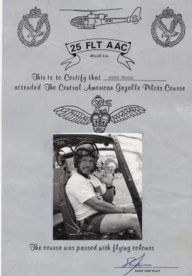 25 Flight AAC Gazelle Pilots Course certificate, Belize Airport Camp, 1987