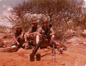 Soldiers man a Mortar position, Kenya, 1981