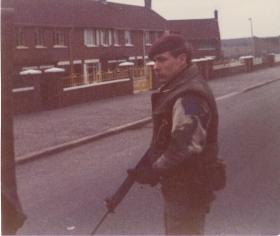 Soldier on foot patrol in Northern Ireland, 1976