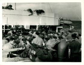 HQ Company of 1 PARA en route to Port Said by sea. November 1956.
