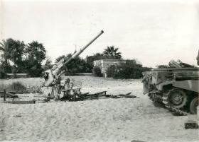 A captured 3.7 inch anti-aircraft gun and other equipment, Suez, November 1956