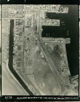 Aerial shot of Port Said showing part of the Suez Canal and El Gamil Airfield.