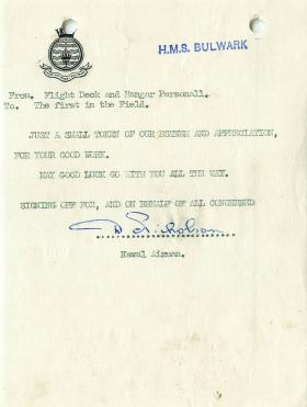 Letter of appreciation from personnel of HMS Bulwark to the first in the field.