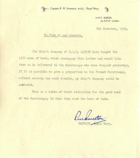 Letter from Naval Captain Smeeton about gift of beer to paratroopers.