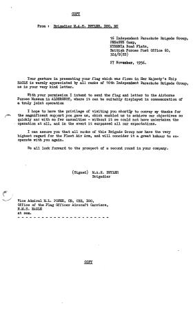 Letter from Brigadier Butler to Fleet Air Arm about gift of HMS Eagle flag.