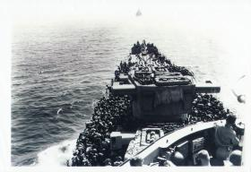 Part of 1st Airborne Div aboard USS Boise bound for Taranto, September 1943.