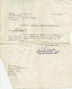 Confirmation that Tony Hibbert's application to No 2 Commando has been sent