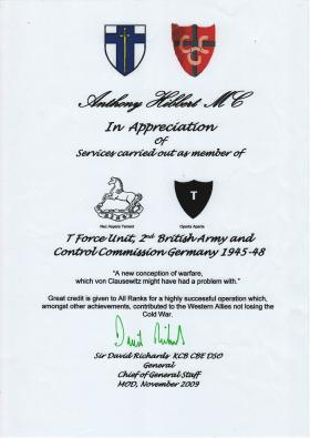 Tony Hibbert's Commendation from the Chief of General Staff