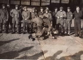 Men of No 2 Commando in unarmed combat training at Ringway