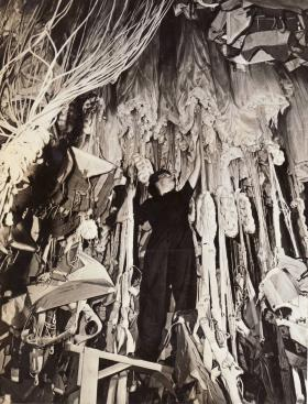 A WAAF in the Parachute Drying Room