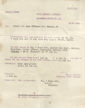 Tony Hibbert's Posting Order to HQ 1 Para Brigade July 1944