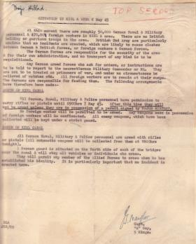 Sitrep sent to Maj Tony Hibbert on situation in Kiel 6 May 1945