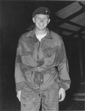 L/Cpl Topping following a night jump at Changi, Singapore
