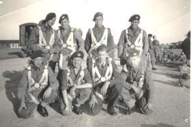 Stick at Upper Heyford June 1947. Sgt Paul Hewitt RAF, Instructor.