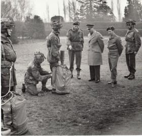 Brig Shan Hackett with King George VI and Lt. Col Des Voeux, CO, 156 Battalion