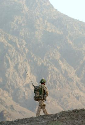 Soldier in the hills of Zabul, Afghanistan June 2008