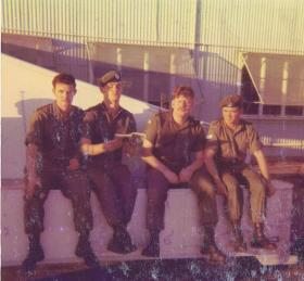 Soldiers from the RNZA at rest in Darwin, Northern Australia before deployment to Singapore, mid-1970s