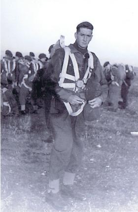 Soldiers prepare for a training jump, Aqir, Palestine