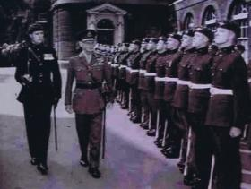 Soldiers presented to Field Marshal Montgomery by Lt Col Corbould, Lancaster House, London, 1958