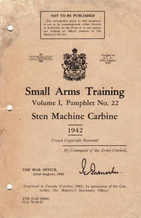 War Office Small Arms Training Pamphlet for Sten Machine Carbine, 1942