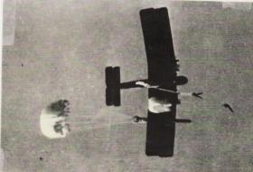 Stick from 151 Battalion jumping from a Valencia, 1941