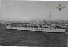 A LST carrying troops ashore at Suez