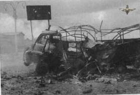 A three ton truck hit by an Egyptian shell in our lines on 6th November 1956