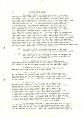 Report on the lessons learned during Tragino raid, February 13th 1941.
