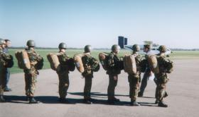Paratroopers waiting for their first jump from a Skyvan at RAF Weston on the Green, 1996