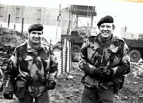 Major Gerry Taggart (Right) with SSM AM Roberts during his command of 9 Squadron, at Crossmaglen, 1976
