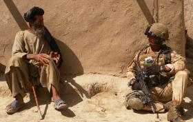 Talking to the locals in Maywand, Afghanistan April 2008