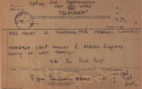 Telegram to family of L/Cpl Moore confirming his return from Arnhem to the UK, Oct 1944