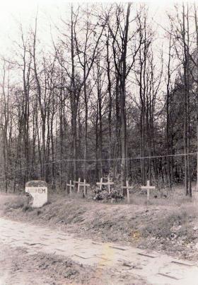 Temporary graves of 10th Parachute Battalion men killed at 6km marker to Arnhem, May 1945