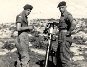 Terence Gillott (Gilly as we called him) with Rod Escott, during gun practice, Cyprus, 1956