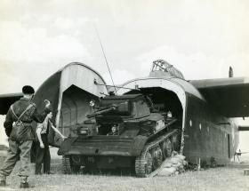 A Tetrarch tank being unloaded from a Hamilcar glider on exercise, c.1944